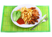 Deep-fried potatoes with fry shrimps. Isolated — Stock Photo
