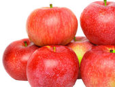 Heap of ripe, red apples. Isolated. — Stock Photo