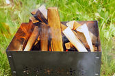 Firewoods in barbecue (grill) — Stock Photo