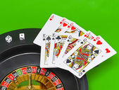 Casino - playing cards on green broadcloth. — Stockfoto