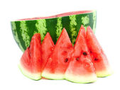 Half of watermelon with juicy slice, isolated. — Stock Photo