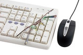 Black computer mouse and part of keyboard. — Stock Photo