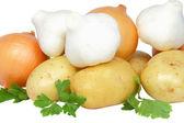 Still-life-garlic,onions decorating of parsley. — Stock Photo