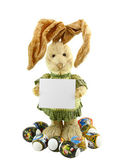 Straw rabbit with blank card. — Stock Photo