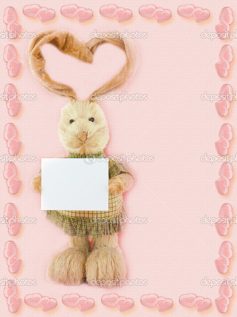 Postcard St. Valentine Day  with rabbit.  Stock Photo #6914300