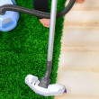 Royalty-Free Stock Photo: The metal pipe of vacuum cleaner in action -clean a carpet and floor