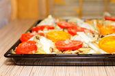 Raw chiken with tomato and potato. CloseUp — Stock Photo