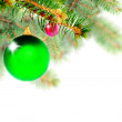 Christmas decoration-glass ball on fir branches. - Stok fotoğraf