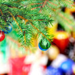 New Year decoration- balls, tinsel, candels. - Foto Stock