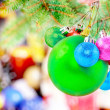 New Year decoration- balls, tinsel, candels. - Stock fotografie