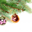 Christmas decoration-glass ball on fir branches. — Stock Photo #7625151