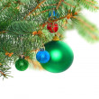 Christmas decoration-glass ball on fir branches. — Stock Photo #7625223