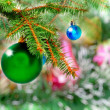 Christmas,New Year decoration-balls, green tinsel — Stock Photo #7777906