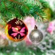 Christmas,New Year decoration-balls, green tinsel — Stock Photo #7777945