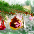 Christmas,New Year decoration-balls, green tinsel - Stock Photo