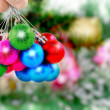 Christmas,New Year decoration-balls, green tinsel - Foto de Stock  