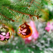 Christmas,New Year decoration-balls, green tinsel — Stock Photo #7778310