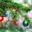Stock Photo: Christmas,New Year decoration-balls, green tinsel