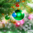 Christmas,New Year decoration-balls, green tinsel — Stock Photo #7778418