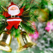 Christmas,New Year decoration-balls, green tinsel — Foto Stock