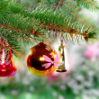 Christmas,New Year decoration-balls, green tinsel — Stock fotografie