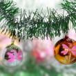 Christmas,New Year decoration-balls, green tinsel — Stock Photo #7778641