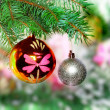 Christmas,New Year decoration-balls, green tinsel — 图库照片