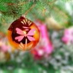 Christmas,New Year decoration-balls, green tinsel — Stock Photo #7778669