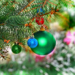 Christmas,New Year decoration-balls, green tinsel - Zdjęcie stockowe