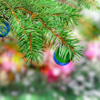 Christmas,New Year decoration-balls, green tinsel - Stock fotografie