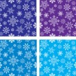 Set of seamless vector with snowflakes - Stock Vector