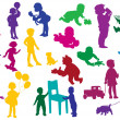 Set of  drawn colored silhouettes of children (kids) — Stock Vector