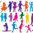 Royalty-Free Stock Vector Image: Set of  drawn colored silhouettes of children (kids)