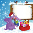 Cute Dragon, symbol 2012 year, lays presents in a sack. — Vettoriale Stock
