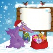 Cute Dragon, symbol 2012 year, lays presents in a sack. — Cтоковый вектор