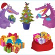 Two cute dragons decorate a fir-tree. Presents. - Stock Vector