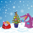 Cute Dragon with presents and a fir-tree — Vector de stock