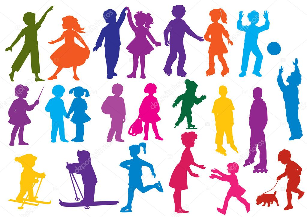 Set of  colored silhouettes of children (kids) children play, dance, walk, go for a drive on rollers, play a ball, study, are friends, drive on skis, skate.   Stock Vector #7699855