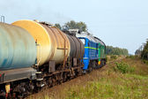 Freight diesel train — Foto Stock