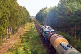 Freight diesel train — Stockfoto