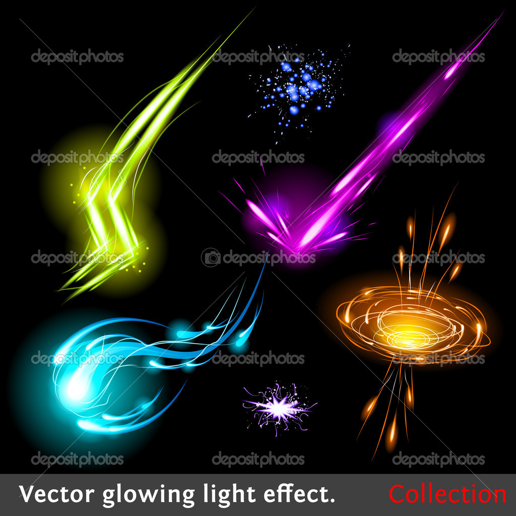Vector glowing light effect set. Sparkling design element collection.  Stock Vector #7599303