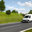 White delivery mini truck - Stock Photo