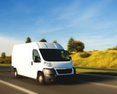 Delivery van, motion blur — Stock Photo