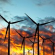 Stock Photo: Wind power at sunset