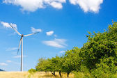 Wind turbine on the hill — Stock Photo