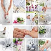 Svatební téma koláž složená z různých obrazů — Stock fotografie