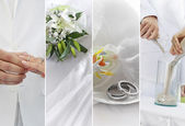 Wedding theme collage composed of different images — Stock Photo