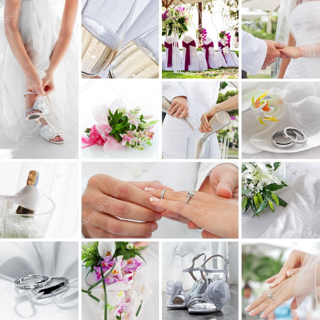 Wedding theme collage composed of different images — Stock Photo #7954279