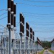 A row of cutouts filled with high voltage gas — Stock Photo