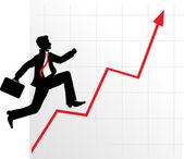 Running businessman on successful diagram — Stock Vector